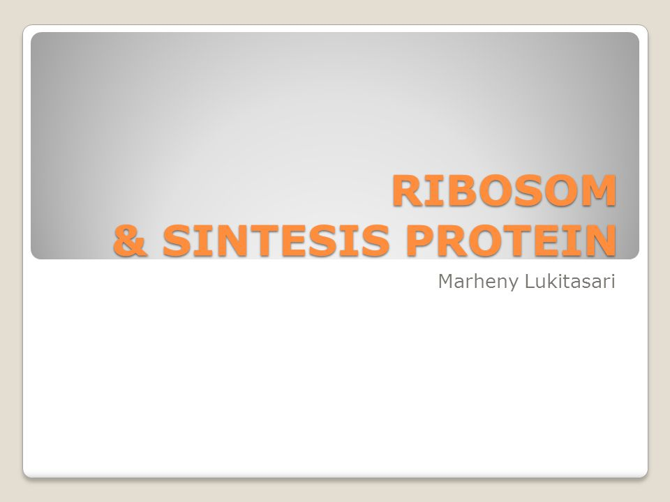 RIBOSOM & SINTESIS PROTEIN