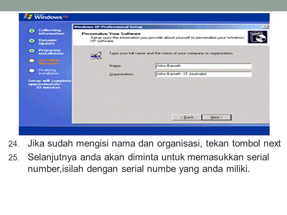 Jika sudah mengisi nama dan organisasi, tekan tombol next