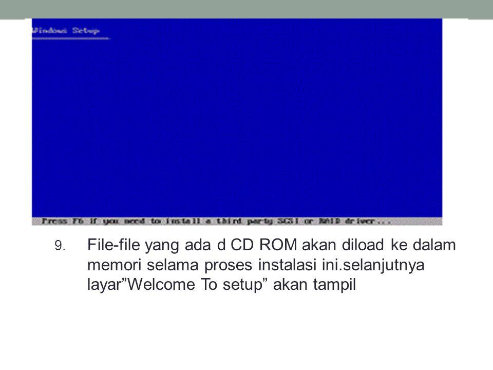 File-file yang ada d CD ROM akan diload ke dalam memori selama proses instalasi ini.selanjutnya layar Welcome To setup akan tampil