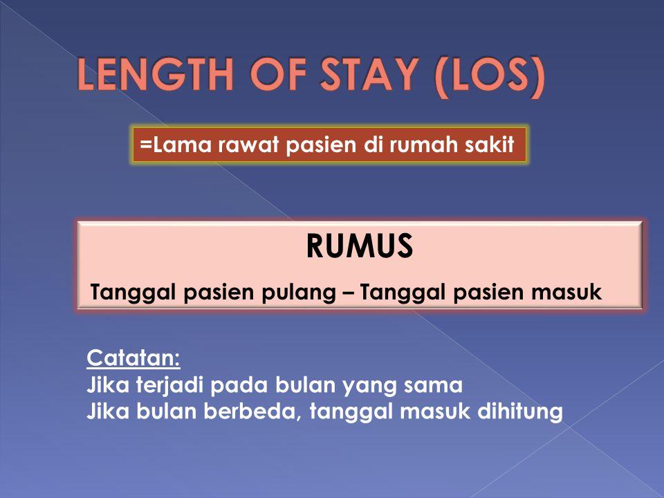 LENGTH OF STAY (LOS) RUMUS =Lama rawat pasien di rumah sakit