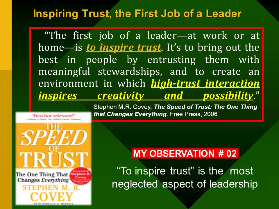 Inspiring Trust, the First Job of a Leader