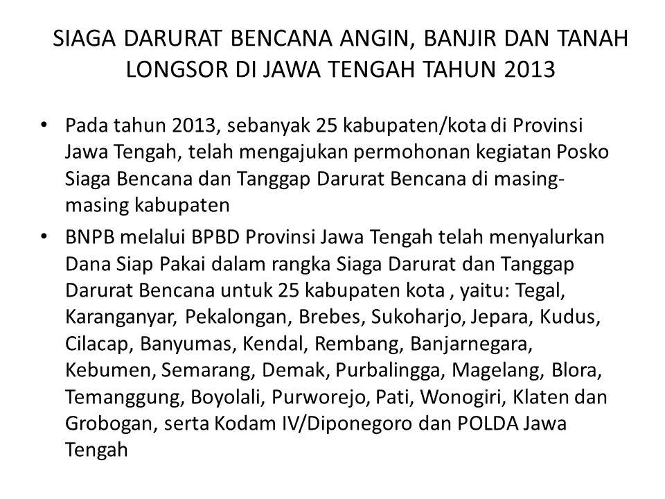 SIAGA DARURAT BENCANA ANGIN, BANJIR DAN TANAH LONGSOR DI JAWA TENGAH TAHUN 2013
