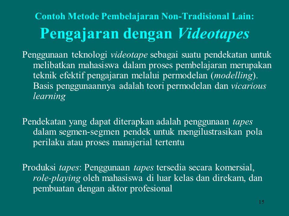 Contoh Metode Pembelajaran Non-Tradisional Lain: Pengajaran dengan Videotapes