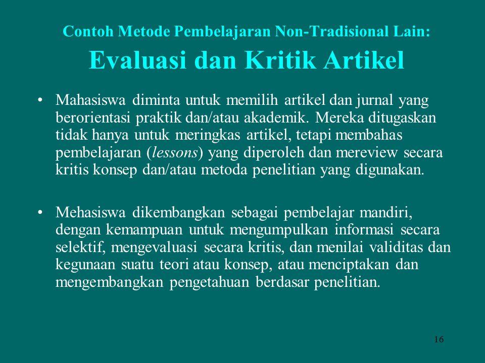 Contoh Metode Pembelajaran Non-Tradisional Lain: Evaluasi dan Kritik Artikel