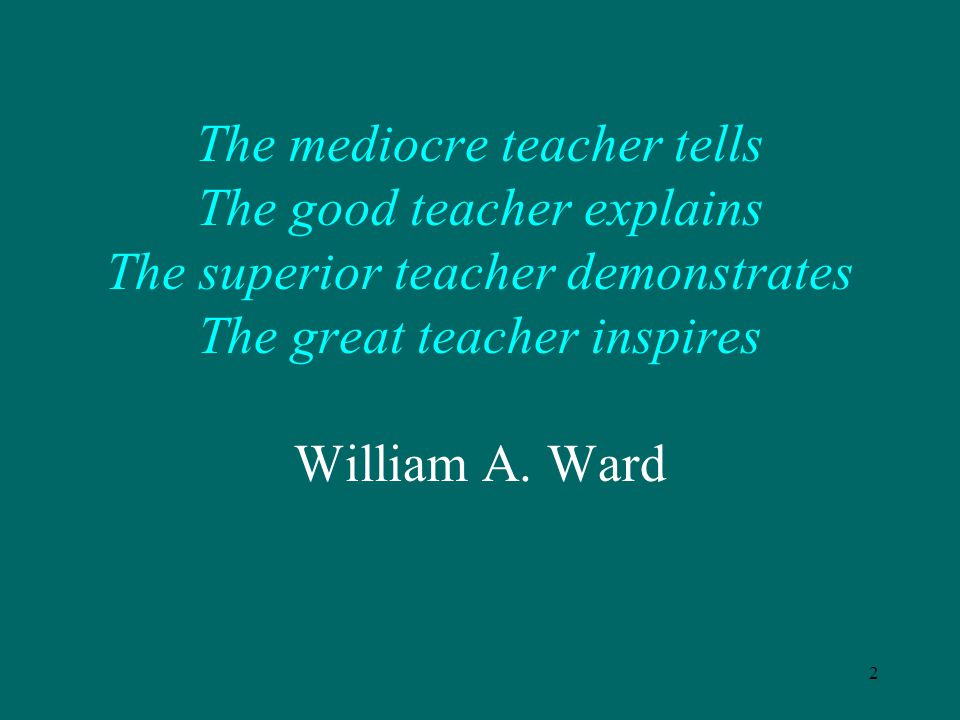 The mediocre teacher tells The good teacher explains The superior teacher demonstrates The great teacher inspires William A.