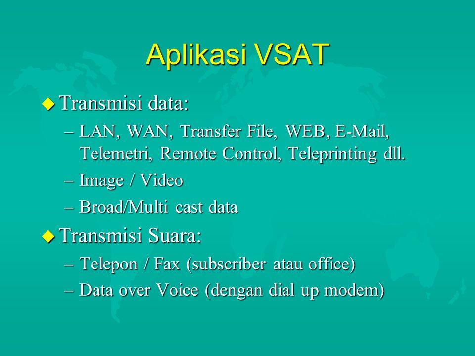 Aplikasi VSAT Transmisi data: Transmisi Suara: