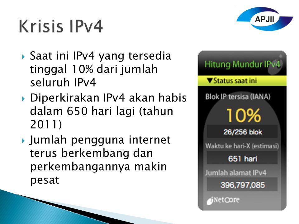 Krisis IPv4 Saat ini IPv4 yang tersedia tinggal 10% dari jumlah seluruh IPv4. Diperkirakan IPv4 akan habis dalam 650 hari lagi (tahun 2011)