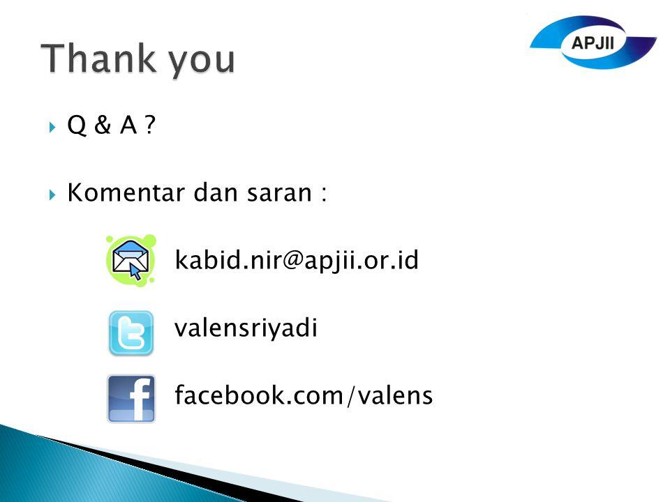 Thank you Q & A Komentar dan saran : kabid.nir@apjii.or.id