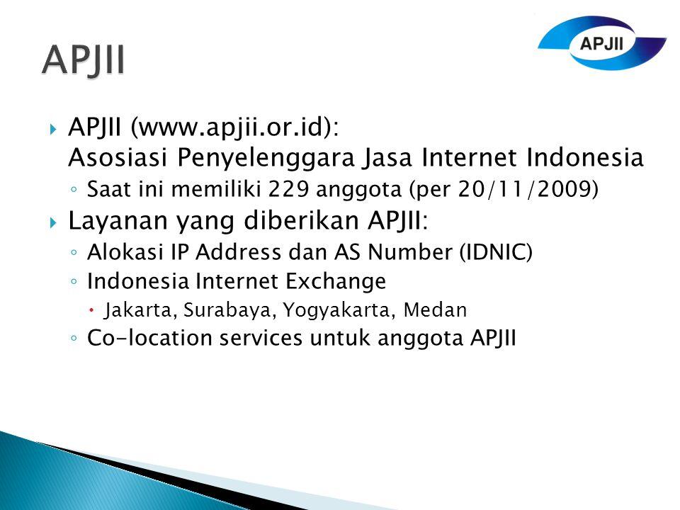 APJII APJII (www.apjii.or.id): Asosiasi Penyelenggara Jasa Internet Indonesia. Saat ini memiliki 229 anggota (per 20/11/2009)