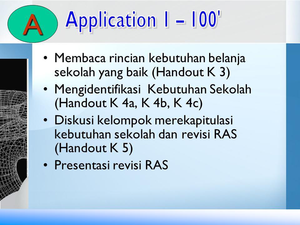 A Application 1 – 100 Membaca rincian kebutuhan belanja sekolah yang baik (Handout K 3)