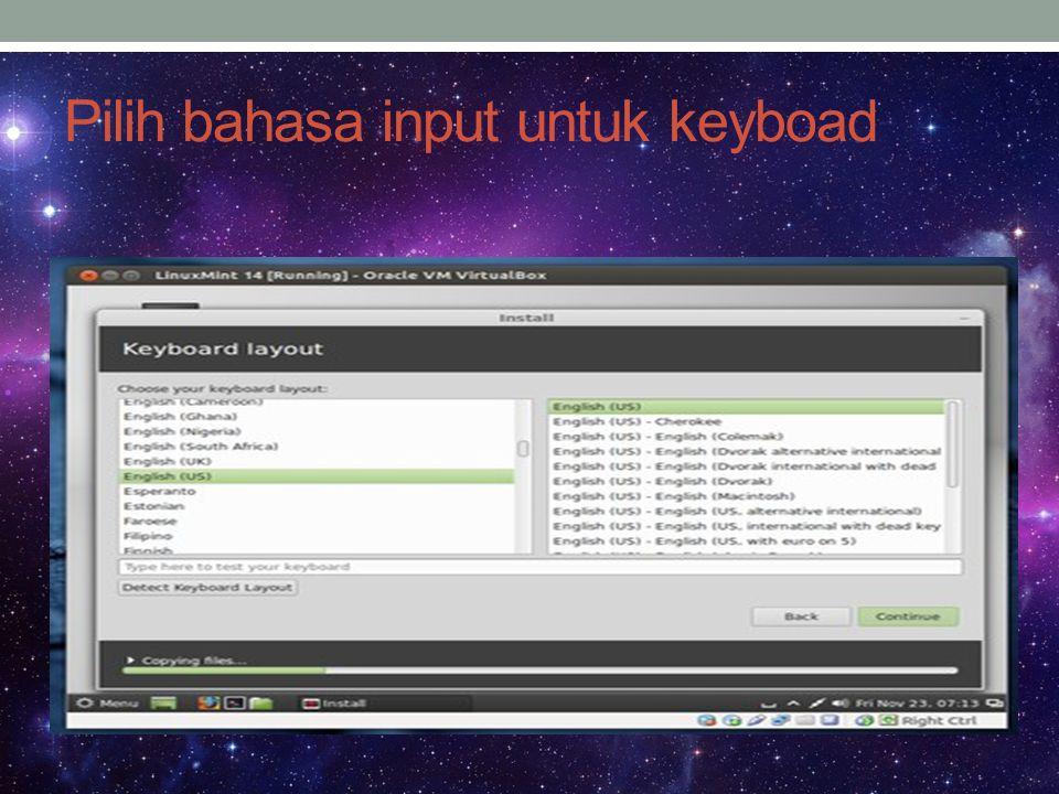Pilih bahasa input untuk keyboad