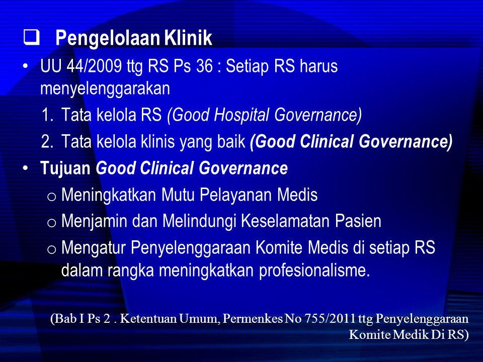 Pengelolaan Klinik UU 44/2009 ttg RS Ps 36 : Setiap RS harus menyelenggarakan. Tata kelola RS (Good Hospital Governance)
