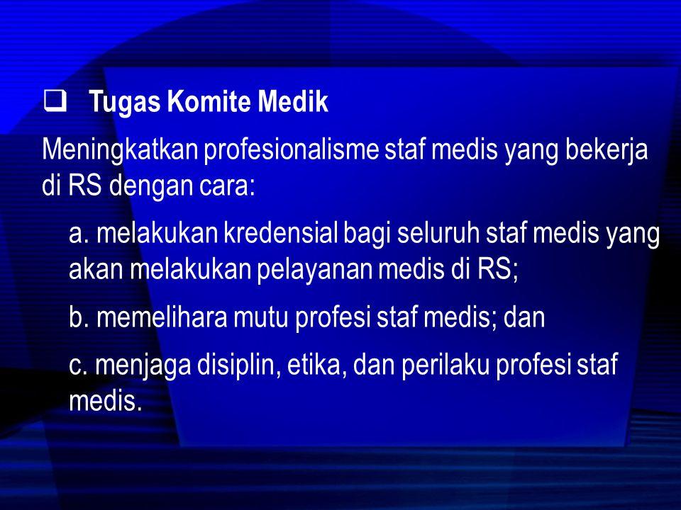 Tugas Komite Medik Meningkatkan profesionalisme staf medis yang bekerja di RS dengan cara: