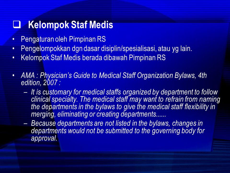 Kelompok Staf Medis Pengaturan oleh Pimpinan RS
