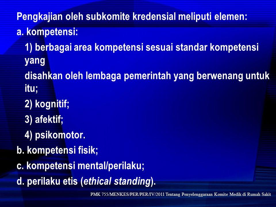 Pengkajian oleh subkomite kredensial meliputi elemen: a