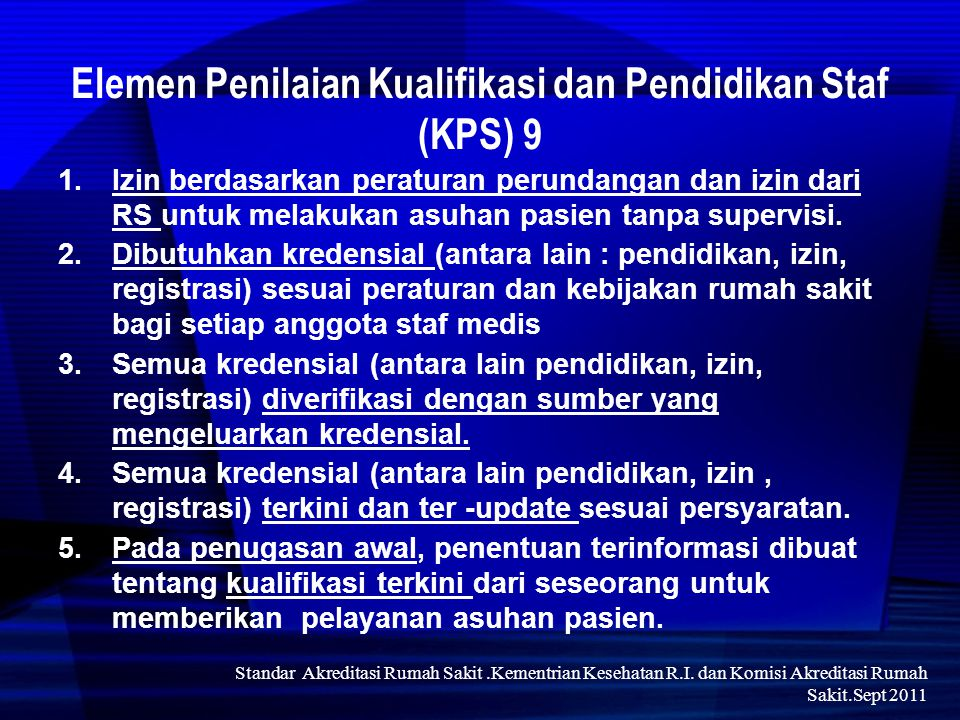 Elemen Penilaian Kualifikasi dan Pendidikan Staf (KPS) 9