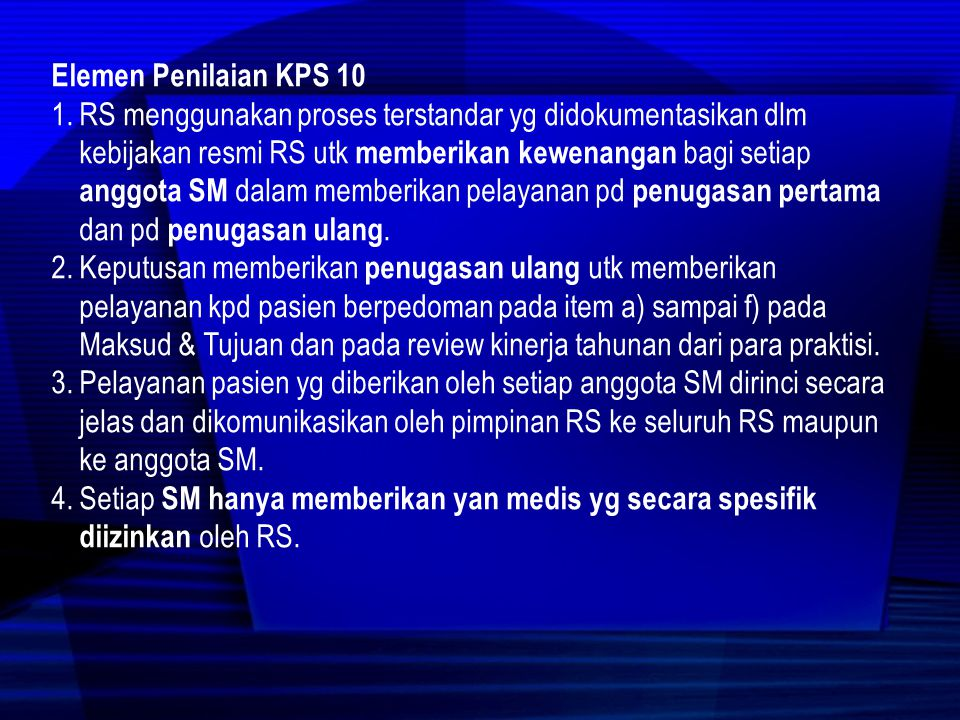 Elemen Penilaian KPS 10