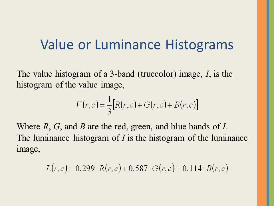 Value or Luminance Histograms