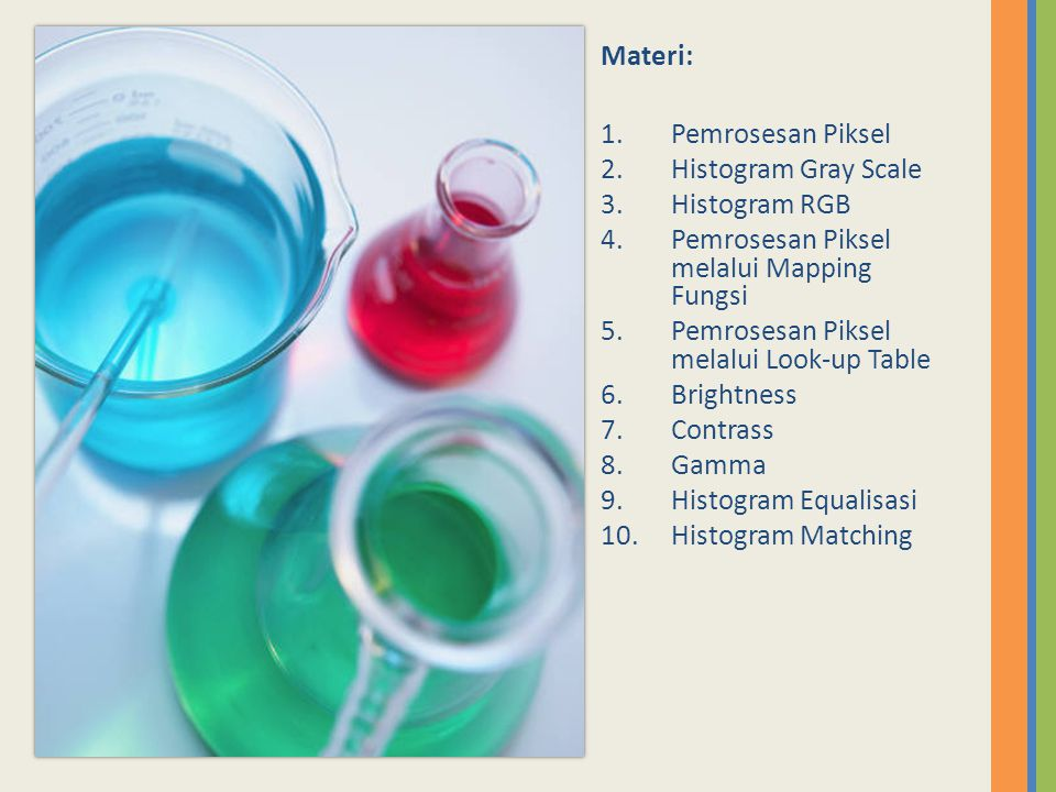 Materi: Pemrosesan Piksel. Histogram Gray Scale. Histogram RGB. Pemrosesan Piksel melalui Mapping Fungsi.