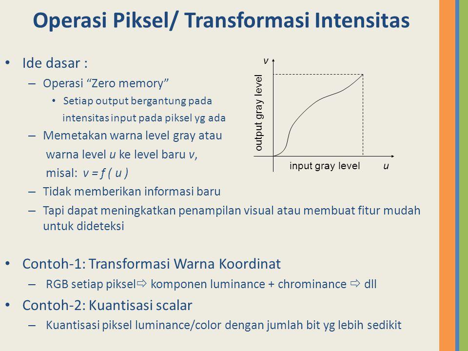Operasi Piksel/ Transformasi Intensitas