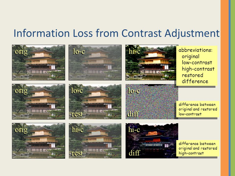 Information Loss from Contrast Adjustment