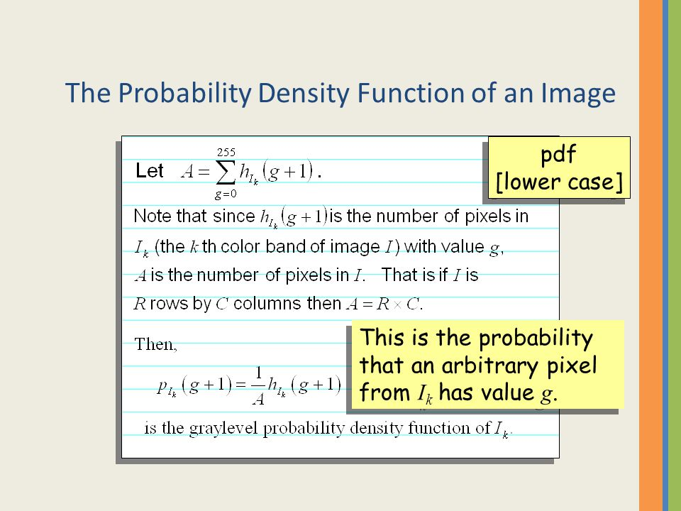 The Probability Density Function of an Image