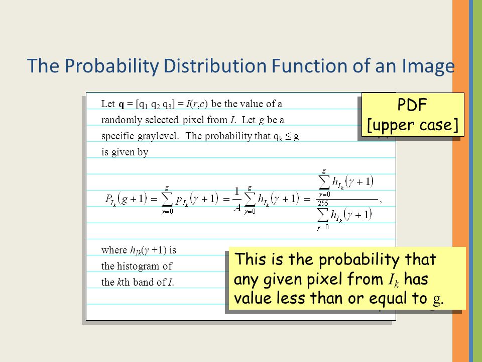 The Probability Distribution Function of an Image