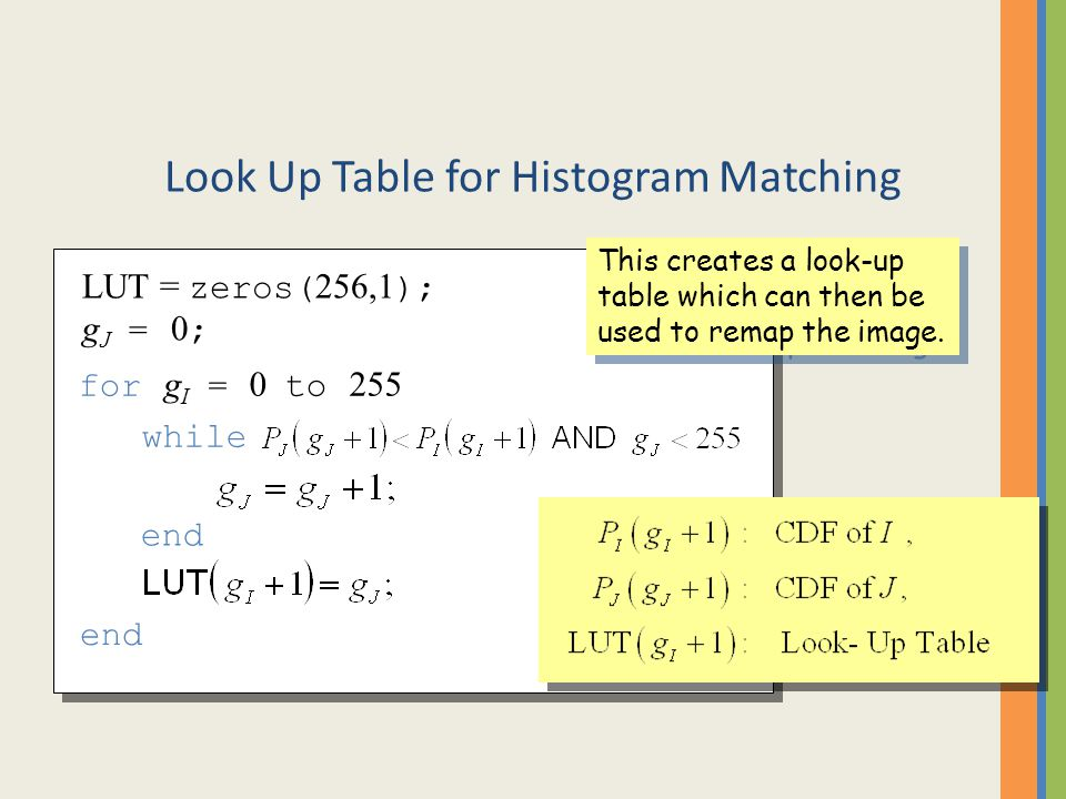 Look Up Table for Histogram Matching