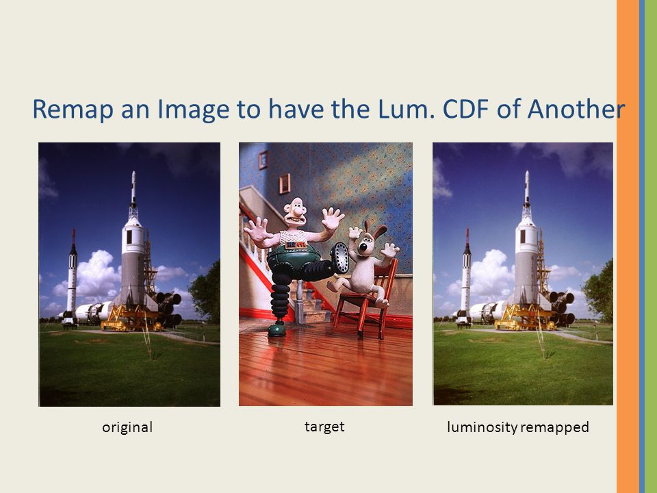 Remap an Image to have the Lum. CDF of Another