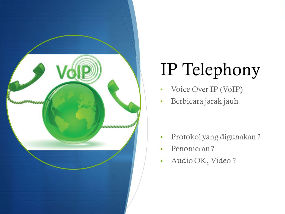 IP Telephony Voice Over IP (VoIP) Berbicara jarak jauh