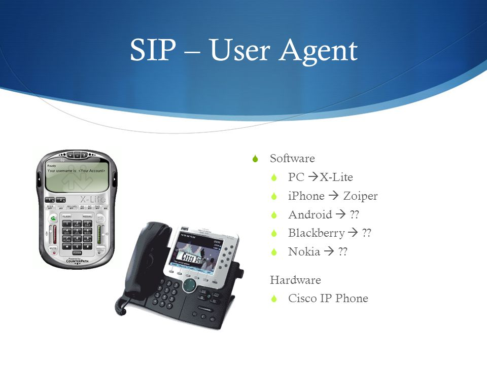 SIP – User Agent Software PC X-Lite iPhone  Zoiper Android 