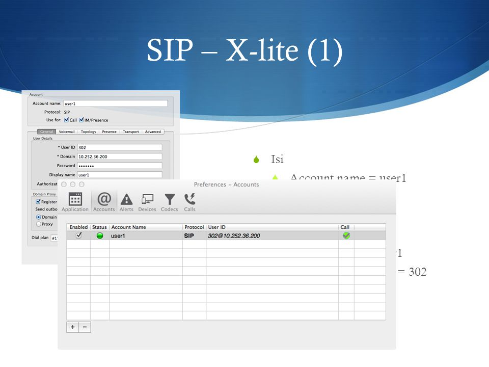 SIP – X-lite (1) Isi Account name = user1 User ID = 302