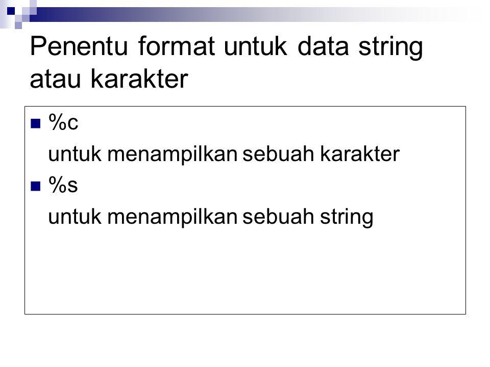 Penentu format untuk data string atau karakter