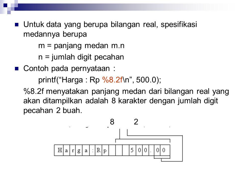 Untuk data yang berupa bilangan real, spesifikasi medannya berupa