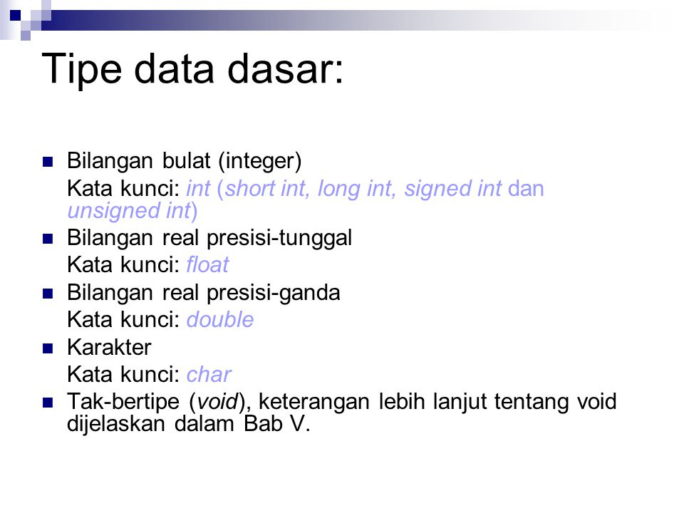 Tipe data dasar: Bilangan bulat (integer)