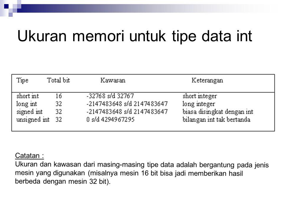 Ukuran memori untuk tipe data int
