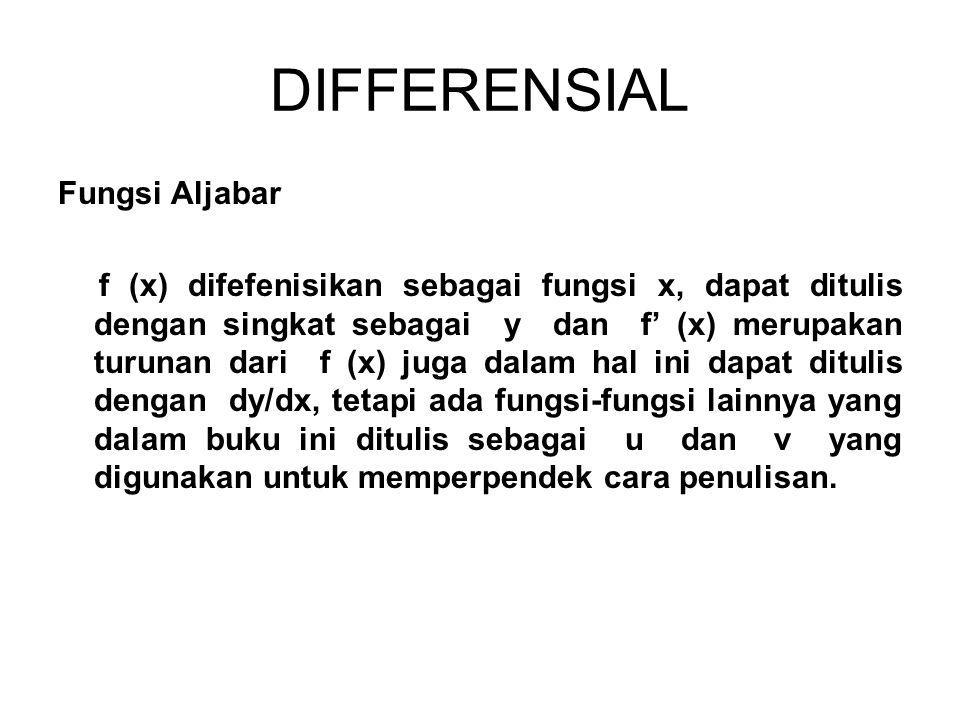 DIFFERENSIAL Fungsi Aljabar