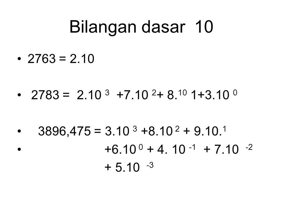 Bilangan dasar 10 2763 = 2.10. 2783 = 2.10 3 +7.10 2+ 8.10 1+3.10 0. 3896,475 = 3.10 3 +8.10 2 + 9.10.1.