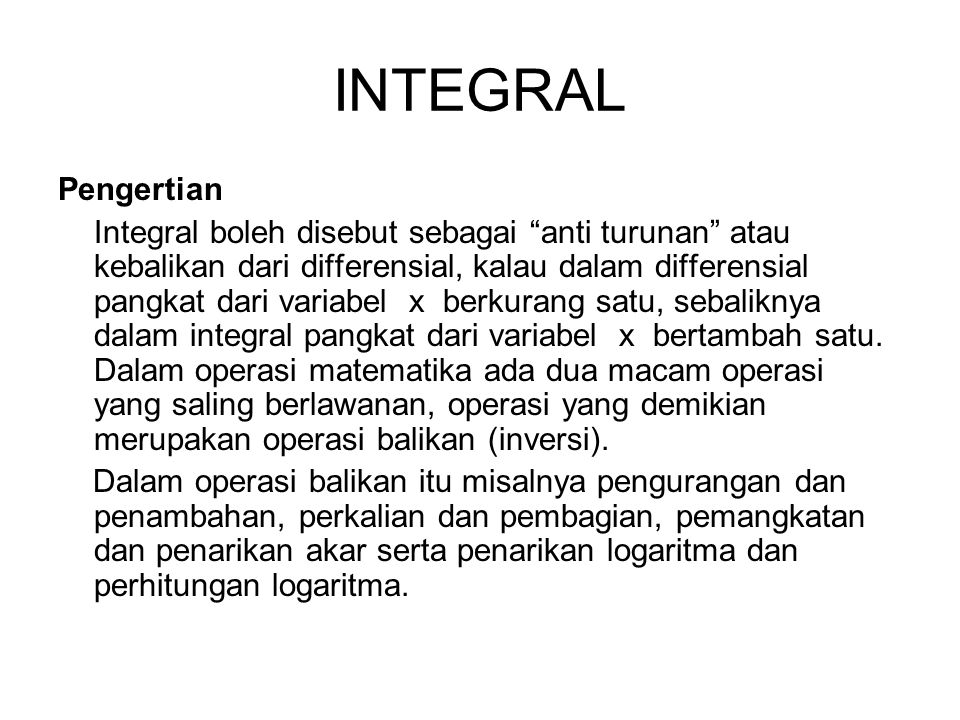 INTEGRAL Pengertian.