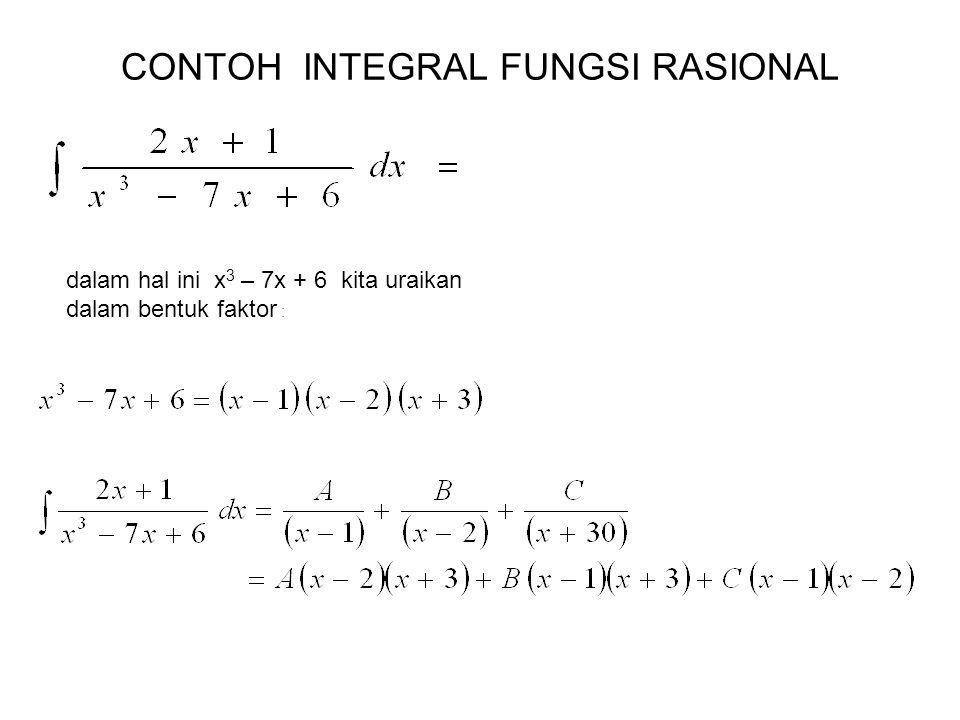 CONTOH INTEGRAL FUNGSI RASIONAL