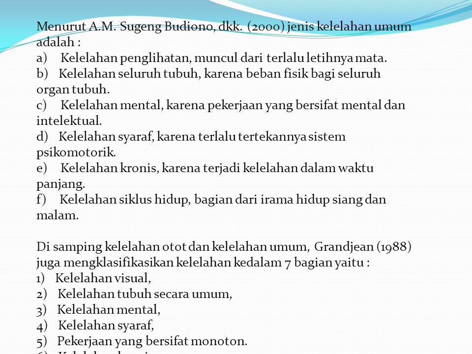 Menurut A.M. Sugeng Budiono, dkk. (2000) jenis kelelahan umum adalah :