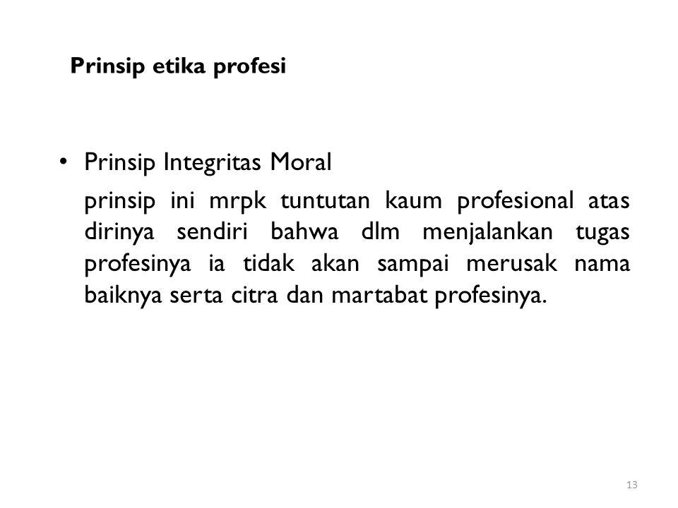 Prinsip Integritas Moral