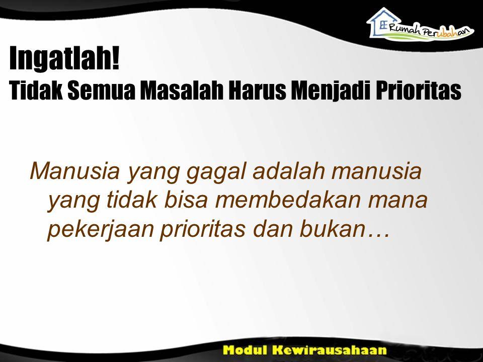 Ingatlah! Tidak Semua Masalah Harus Menjadi Prioritas