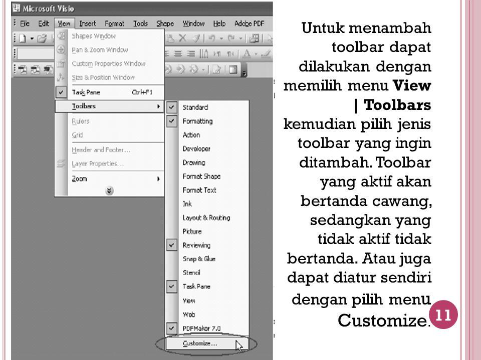 Untuk menambah toolbar dapat dilakukan dengan memilih menu View | Toolbars kemudian pilih jenis toolbar yang ingin ditambah.