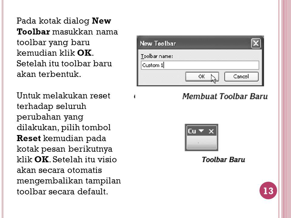 Pada kotak dialog New Toolbar masukkan nama toolbar yang baru kemudian klik OK. Setelah itu toolbar baru akan terbentuk.