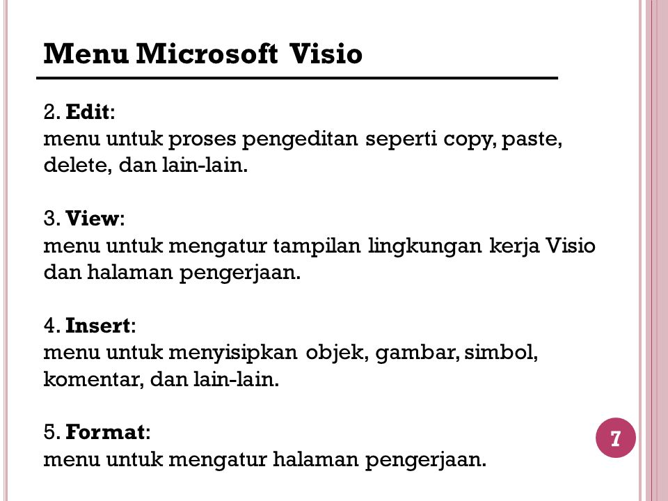 Menu Microsoft Visio 2. Edit: