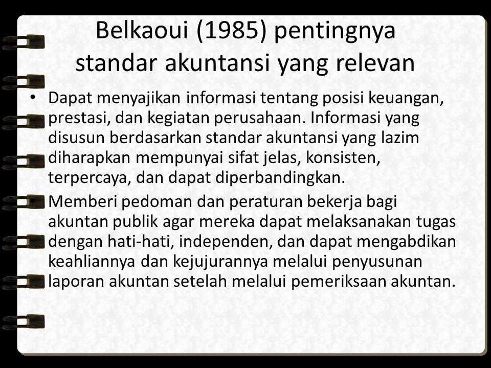 Belkaoui (1985) pentingnya standar akuntansi yang relevan