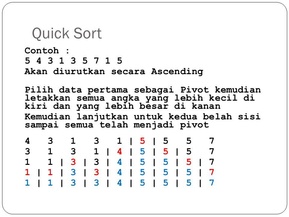 Quick Sort Contoh : 5 4 3 1 3 5 7 1 5 Akan diurutkan secara Ascending