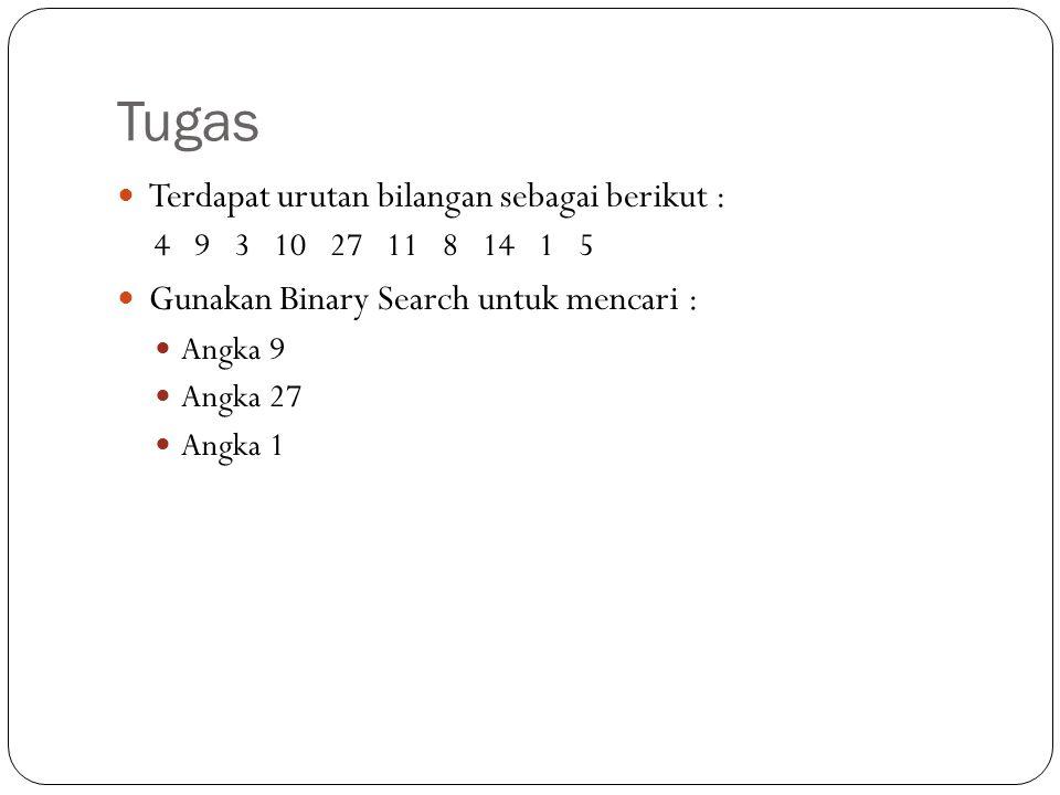 Tugas Terdapat urutan bilangan sebagai berikut :