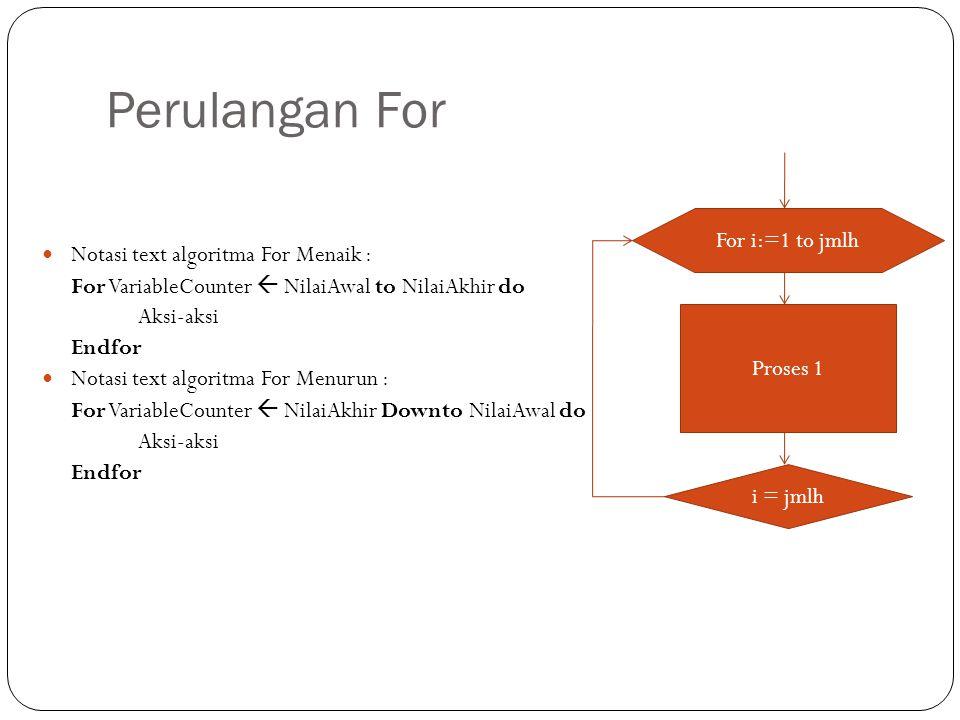 Perulangan For For i:=1 to jmlh Notasi text algoritma For Menaik :